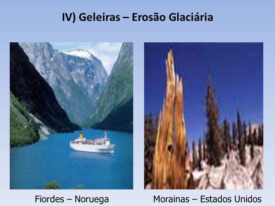 IV) Geleiras – Erosão Glaciária