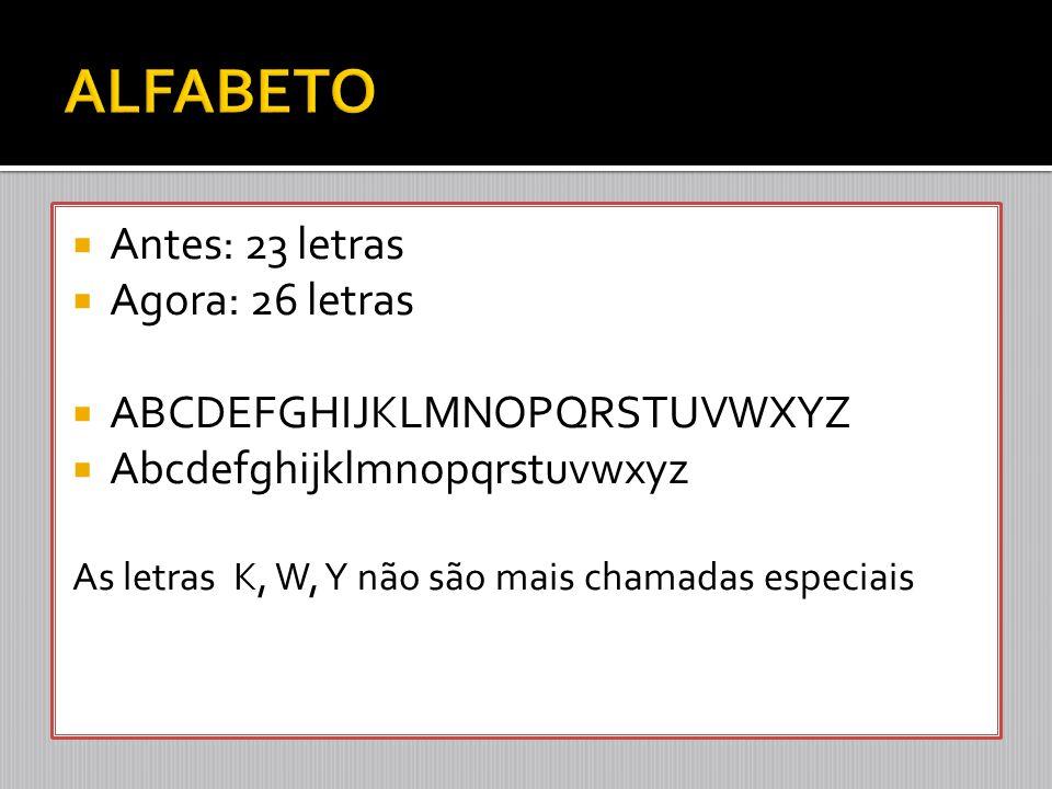 ALFABETO Antes: 23 letras Agora: 26 letras ABCDEFGHIJKLMNOPQRSTUVWXYZ