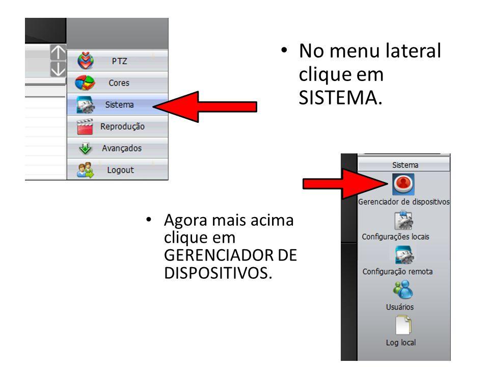 No menu lateral clique em SISTEMA.
