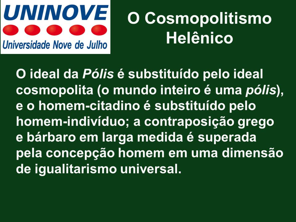 O Cosmopolitismo Helênico