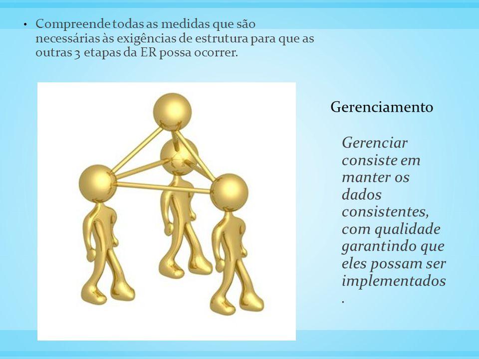 Gerenciamento Compreende todas as medidas que são necessárias às exigências de estrutura para que as outras 3 etapas da ER possa ocorrer.