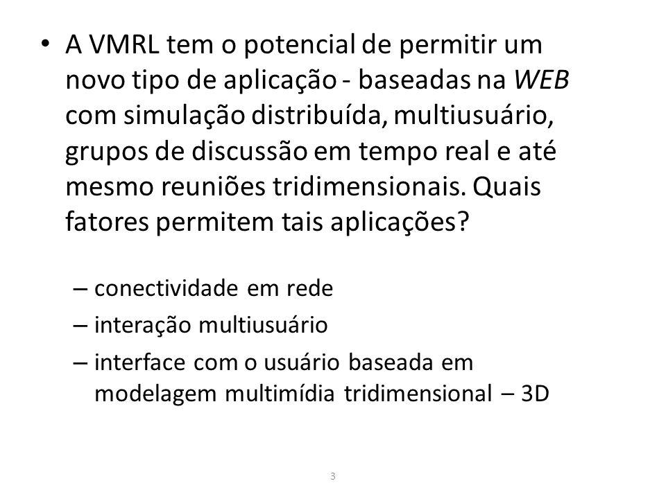 A VMRL tem o potencial de permitir um novo tipo de aplicação - baseadas na WEB com simulação distribuída, multiusuário, grupos de discussão em tempo real e até mesmo reuniões tridimensionais. Quais fatores permitem tais aplicações
