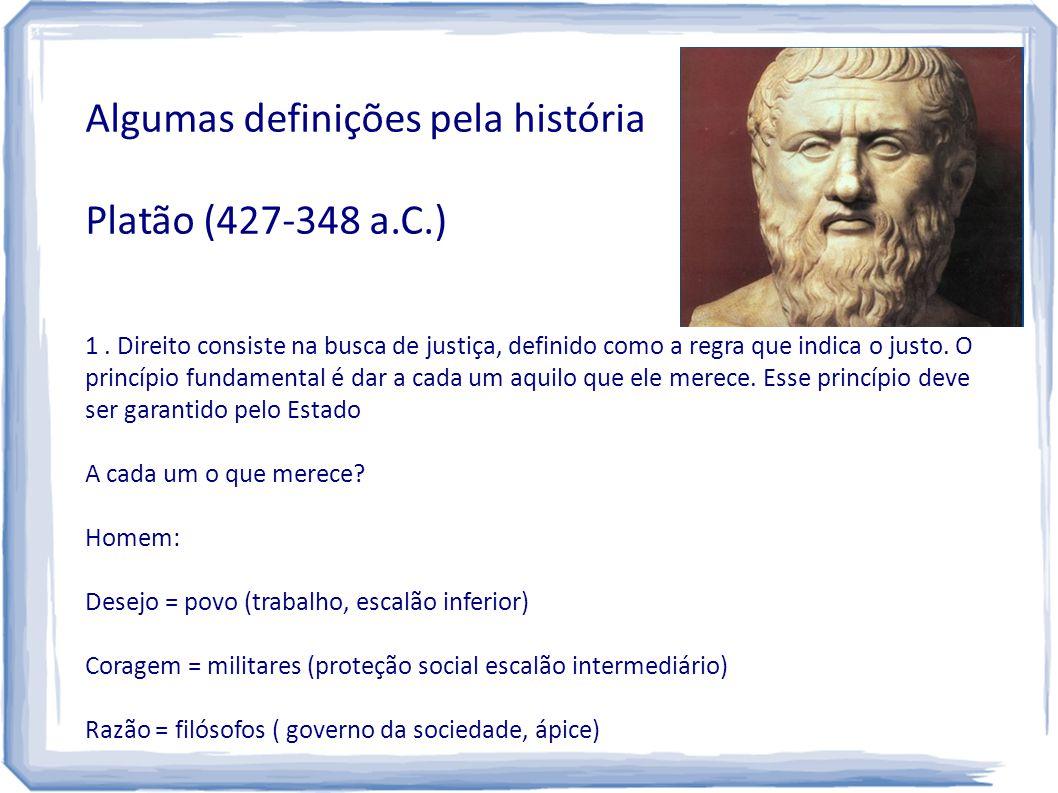 Algumas definições pela história Platão (427-348 a.C.)