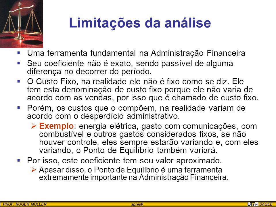 Limitações da análise Uma ferramenta fundamental na Administração Financeira.