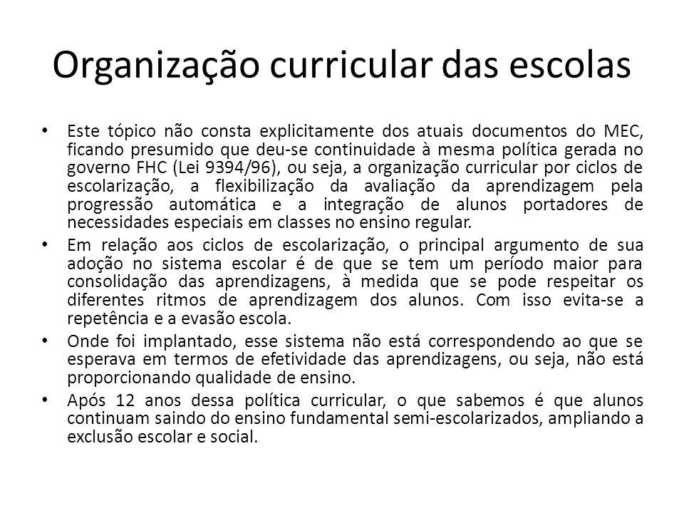 Organização curricular das escolas