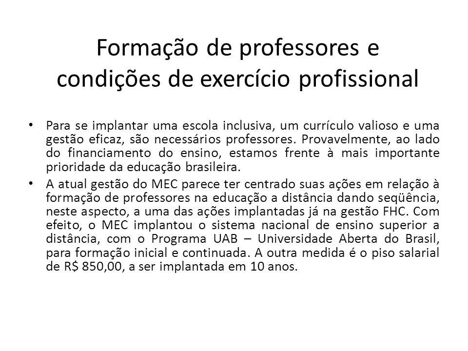 Formação de professores e condições de exercício profissional
