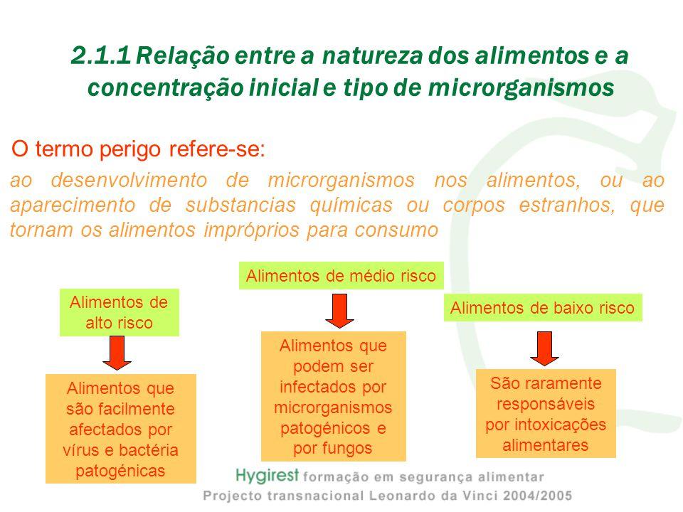 2.1.1 Relação entre a natureza dos alimentos e a concentração inicial e tipo de microrganismos