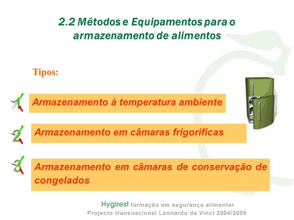 2.2 Métodos e Equipamentos para o armazenamento de alimentos