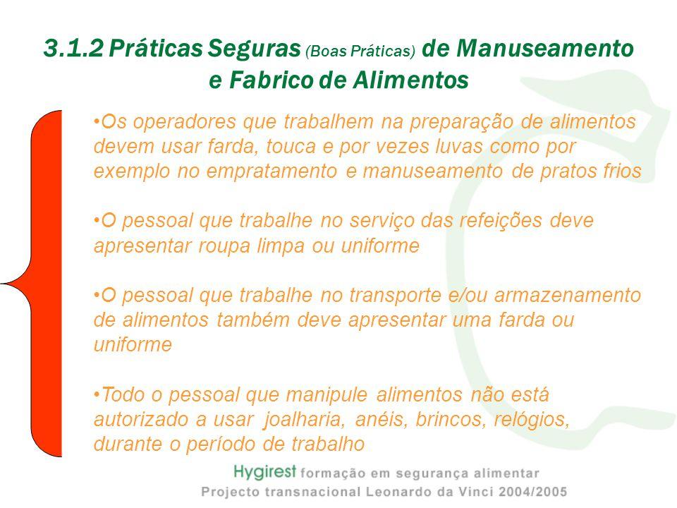 3.1.2 Práticas Seguras (Boas Práticas) de Manuseamento e Fabrico de Alimentos