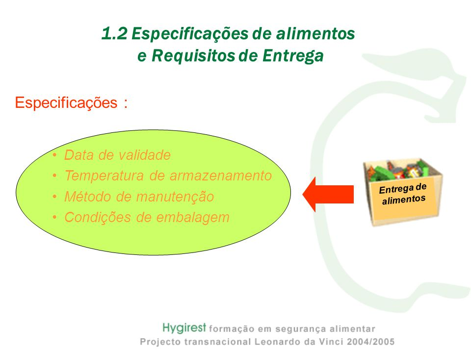 1.2 Especificações de alimentos e Requisitos de Entrega