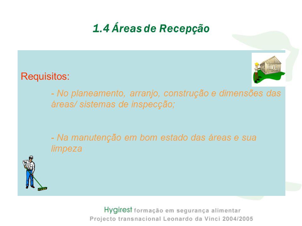 1.4 Áreas de Recepção Requisitos: