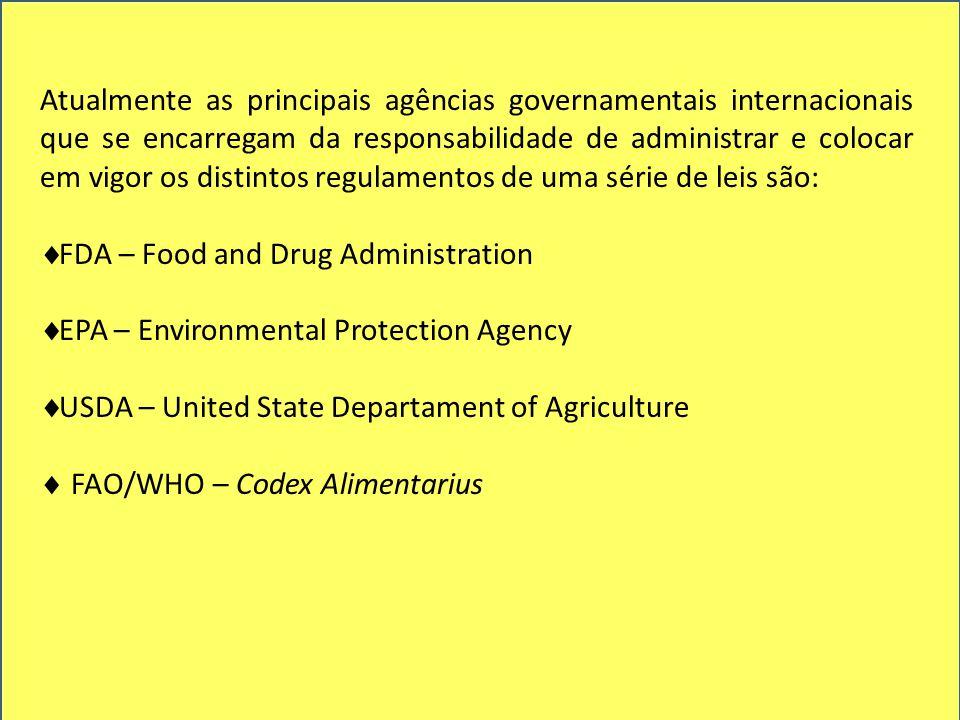 Atualmente as principais agências governamentais internacionais que se encarregam da responsabilidade de administrar e colocar em vigor os distintos regulamentos de uma série de leis são: