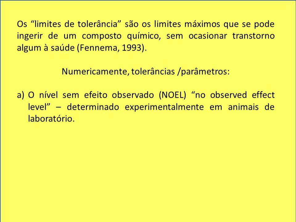 Numericamente, tolerâncias /parâmetros: