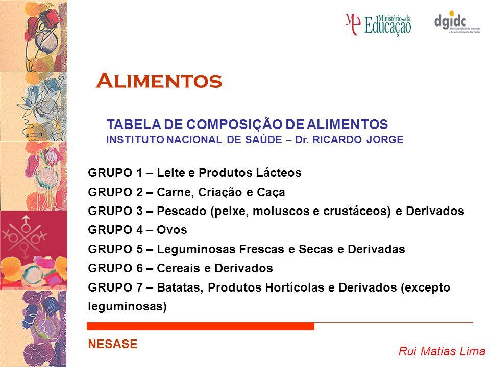 Alimentos TABELA DE COMPOSIÇÃO DE ALIMENTOS