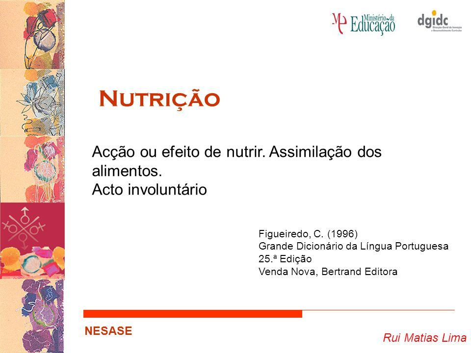 Nutrição Acção ou efeito de nutrir. Assimilação dos alimentos.