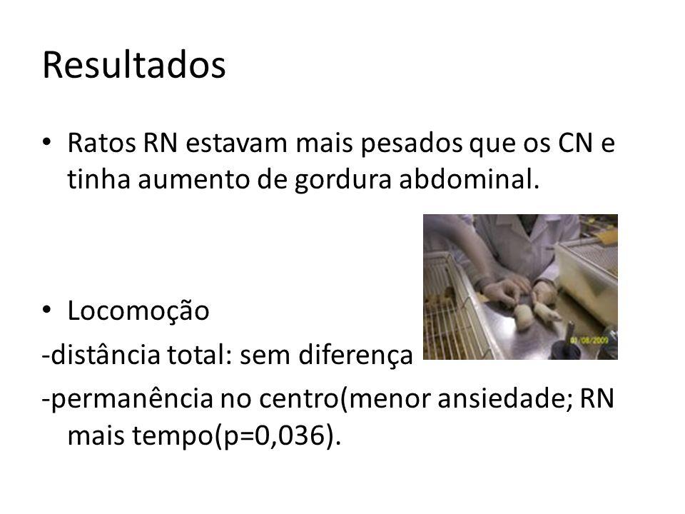 Resultados Ratos RN estavam mais pesados que os CN e tinha aumento de gordura abdominal. Locomoção.