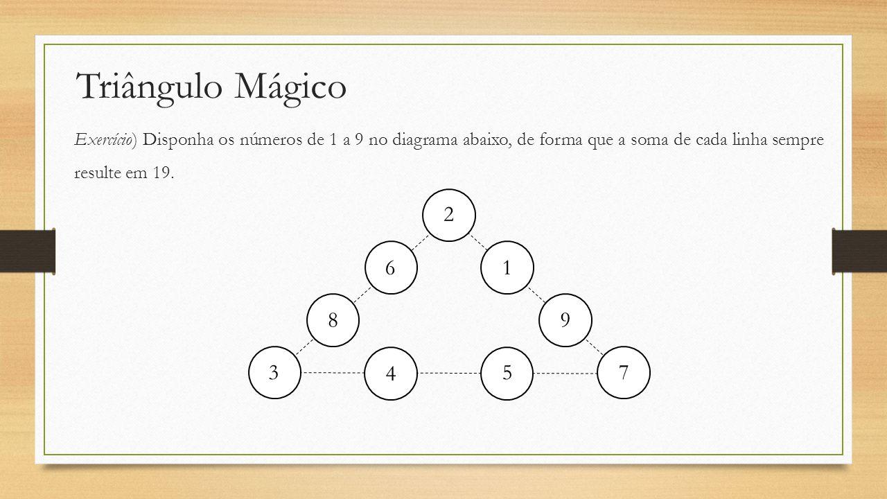 Triângulo Mágico Exercício) Disponha os números de 1 a 9 no diagrama abaixo, de forma que a soma de cada linha sempre resulte em 19.