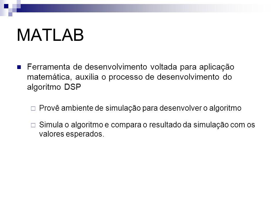 MATLAB Ferramenta de desenvolvimento voltada para aplicação matemática, auxilia o processo de desenvolvimento do algoritmo DSP.