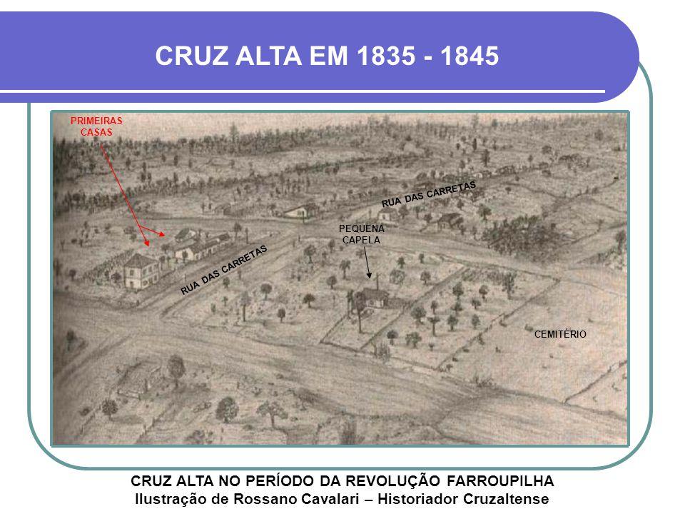 CRUZ ALTA EM 1835 - 1845 PRIMEIRAS CASAS. RUA DAS CARRETAS. PEQUENA CAPELA. RUA DAS CARRETAS. CEMITÉRIO.