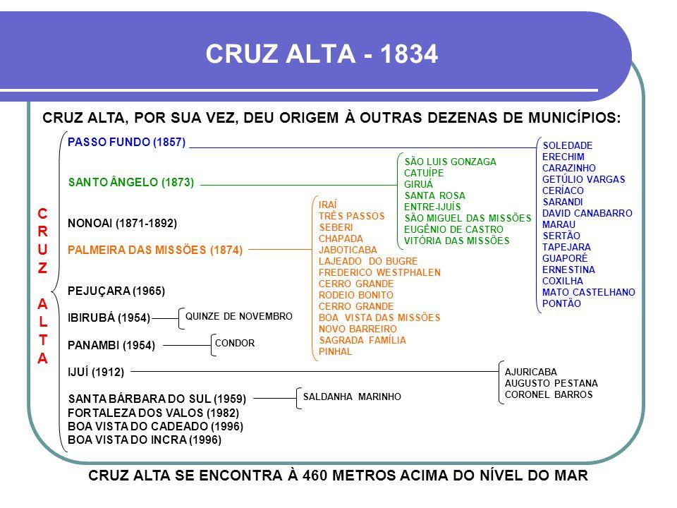 CRUZ ALTA - 1834 CRUZ ALTA, POR SUA VEZ, DEU ORIGEM À OUTRAS DEZENAS DE MUNICÍPIOS: PASSO FUNDO (1857)