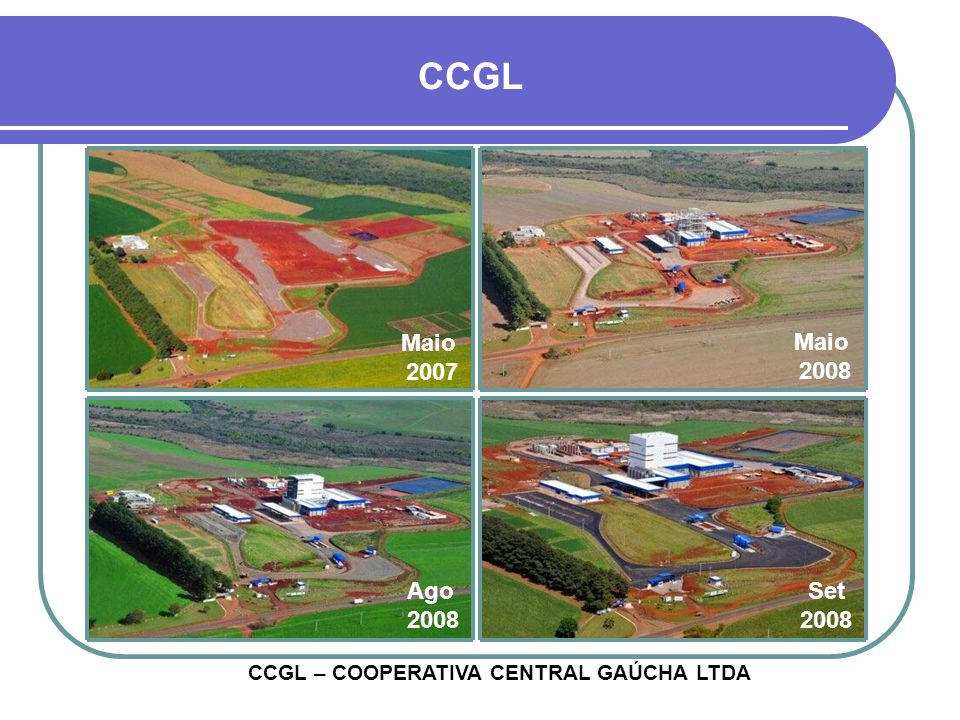 CCGL Maio 2007 Maio 2008 Ago 2008 Set 2008 CCGL – COOPERATIVA CENTRAL GAÚCHA LTDA