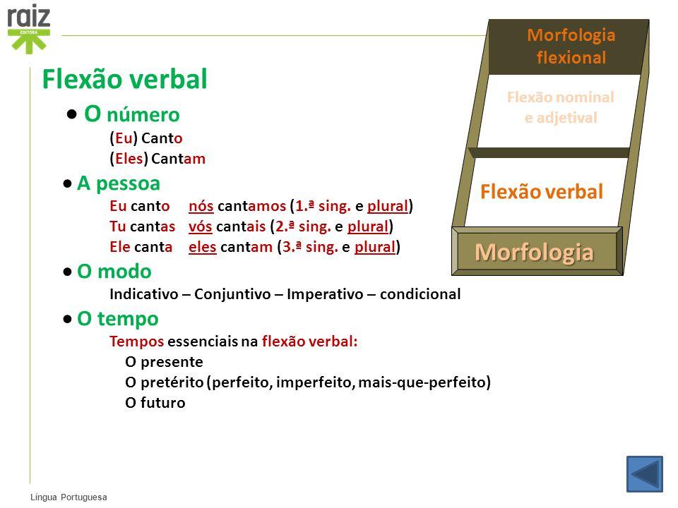 Flexão verbal  O número  A pessoa  O modo Flexão verbal  O tempo