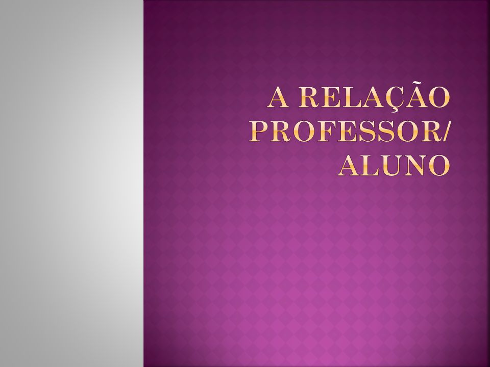 A relação Professor/ Aluno