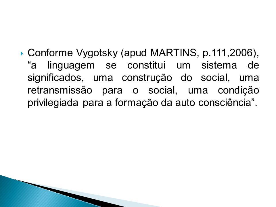 Conforme Vygotsky (apud MARTINS, p