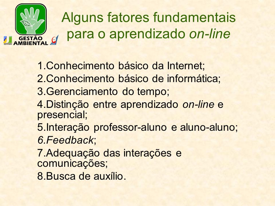 Alguns fatores fundamentais para o aprendizado on-line