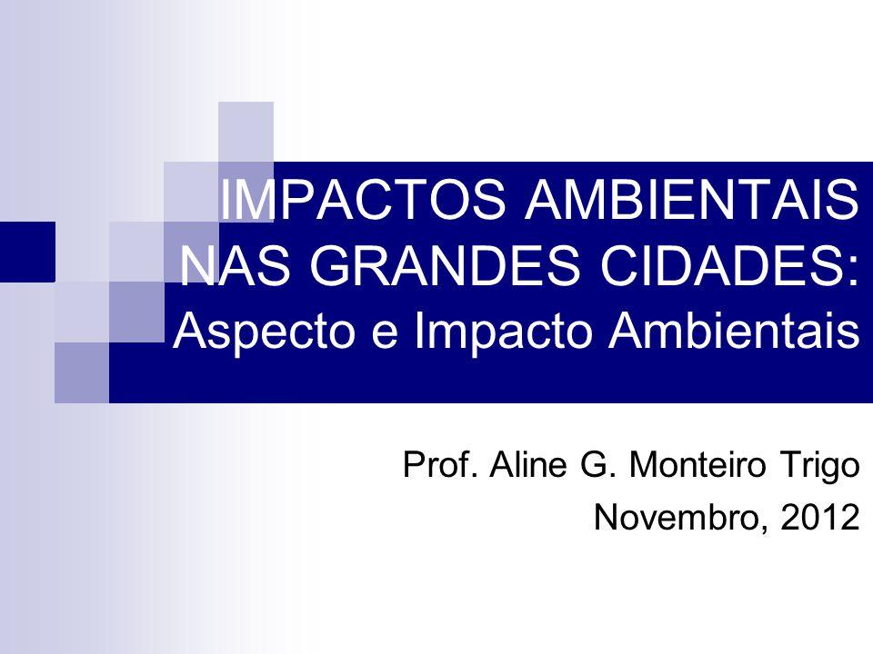 IMPACTOS AMBIENTAIS NAS GRANDES CIDADES: Aspecto e Impacto Ambientais