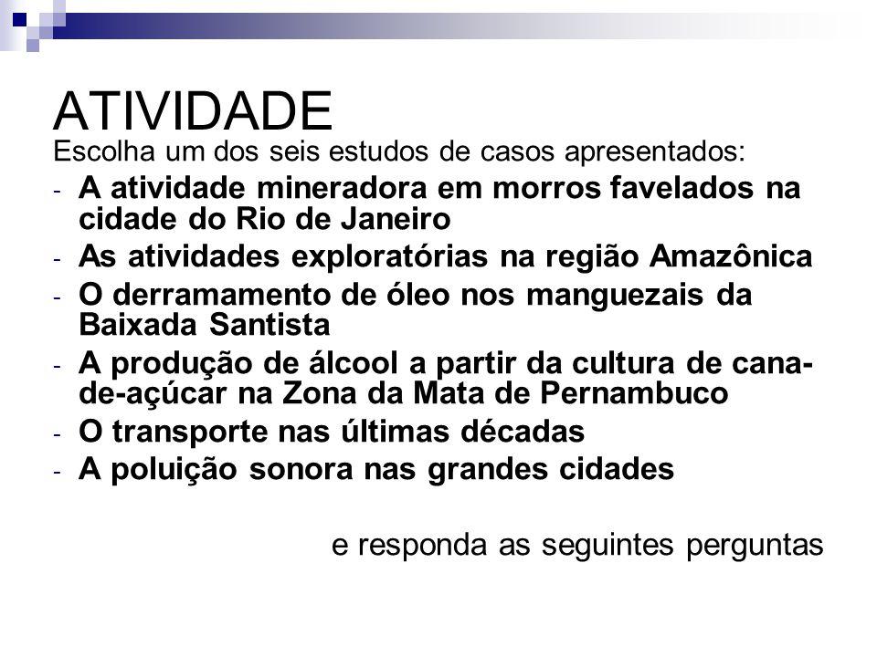 ATIVIDADE Escolha um dos seis estudos de casos apresentados: A atividade mineradora em morros favelados na cidade do Rio de Janeiro.