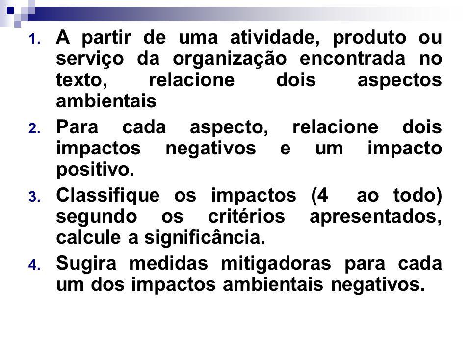 A partir de uma atividade, produto ou serviço da organização encontrada no texto, relacione dois aspectos ambientais