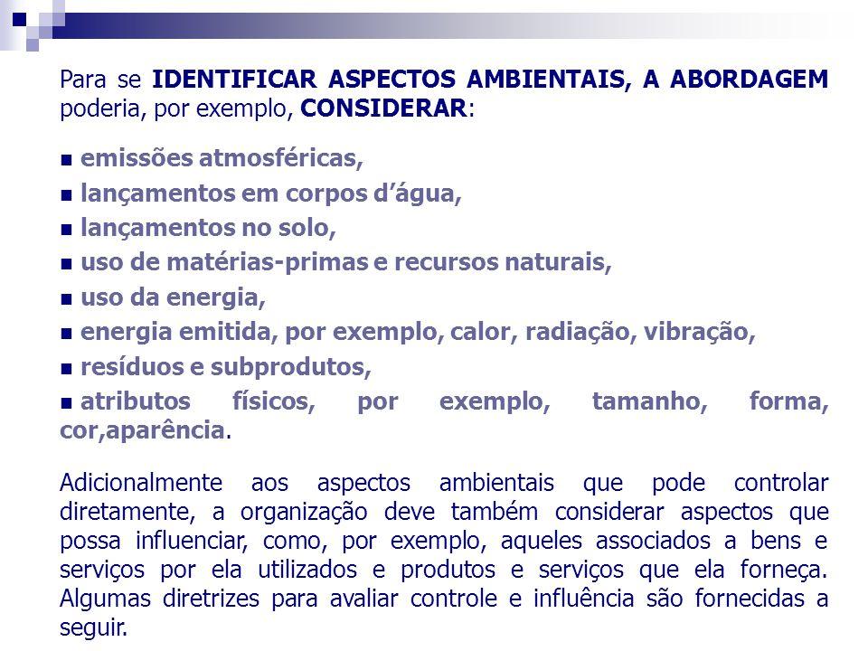 Para se IDENTIFICAR ASPECTOS AMBIENTAIS, A ABORDAGEM poderia, por exemplo, CONSIDERAR: