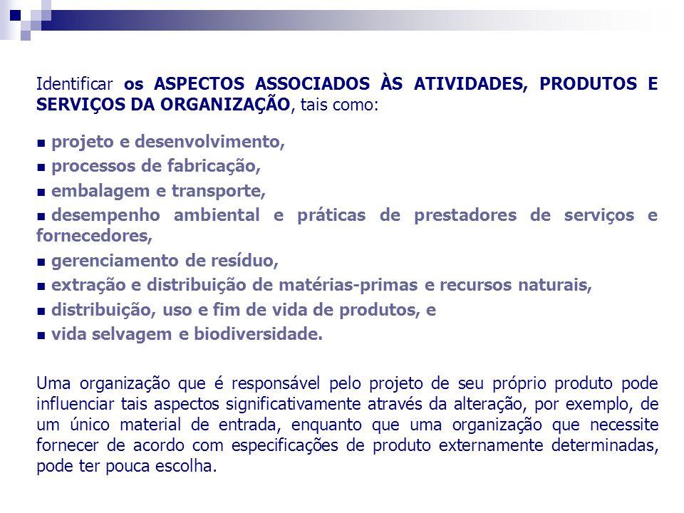 Identificar os ASPECTOS ASSOCIADOS ÀS ATIVIDADES, PRODUTOS E SERVIÇOS DA ORGANIZAÇÃO, tais como: