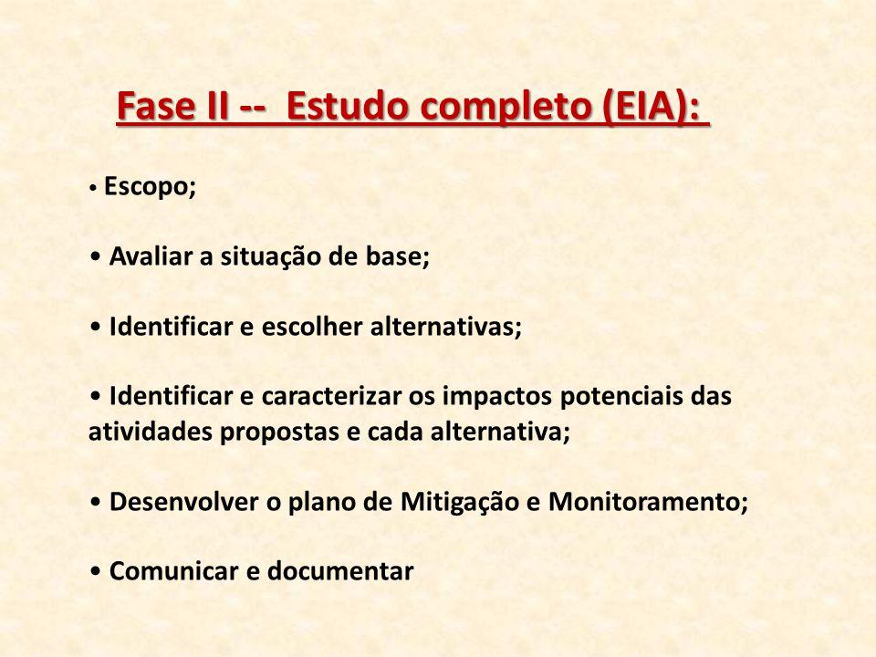 Fase II -- Estudo completo (EIA):