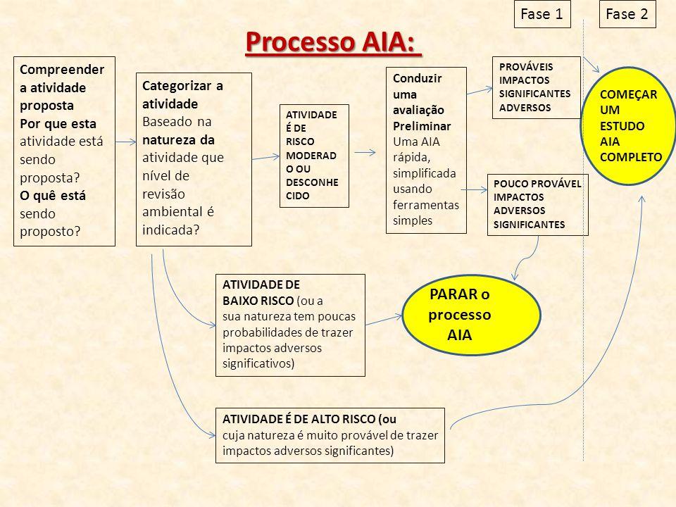 Processo AIA: Fase 1 Fase 2 PARAR o processo AIA Compreender