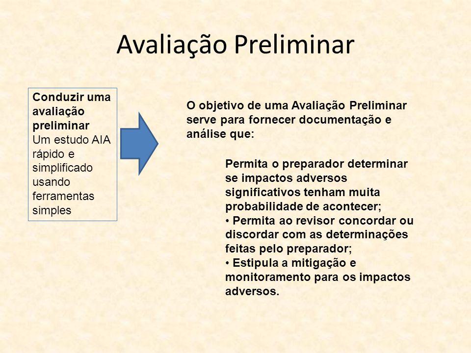 Avaliação Preliminar Conduzir uma avaliação