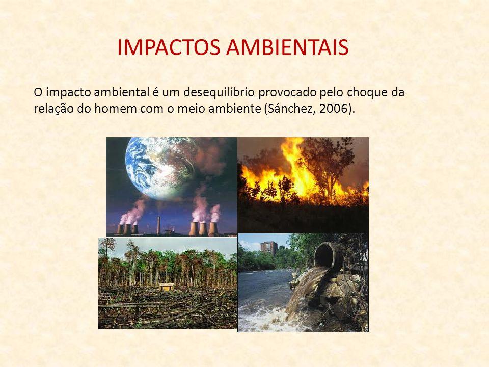 IMPACTOS AMBIENTAIS O impacto ambiental é um desequilíbrio provocado pelo choque da.