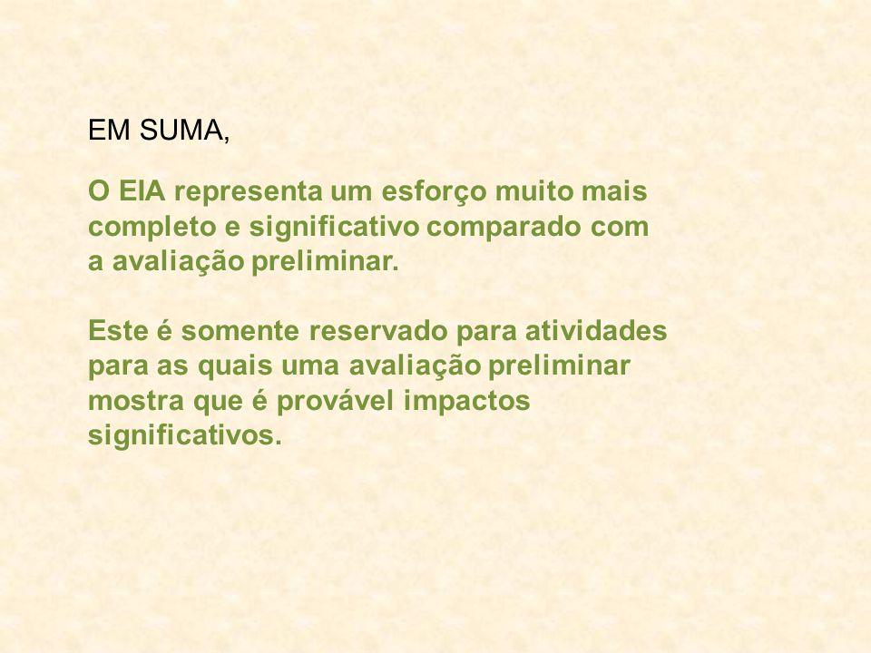 EM SUMA, O EIA representa um esforço muito mais. completo e significativo comparado com. a avaliação preliminar.