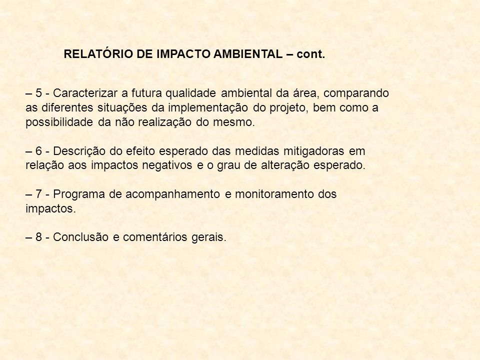 RELATÓRIO DE IMPACTO AMBIENTAL – cont.