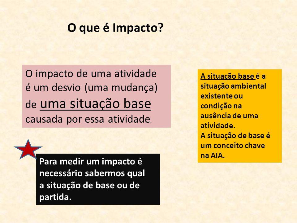 O que é Impacto O impacto de uma atividade é um desvio (uma mudança)
