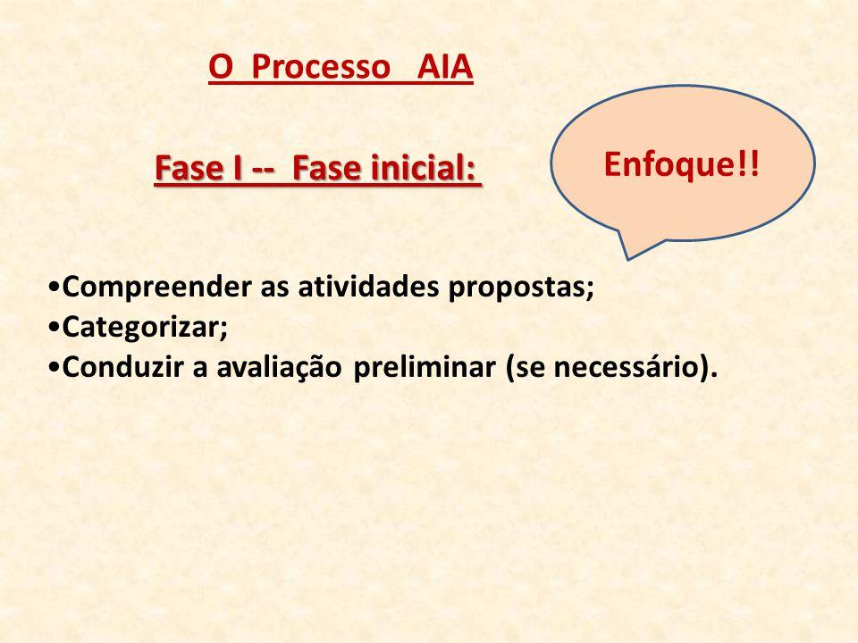 O Processo AIA Enfoque!! Fase I -- Fase inicial: