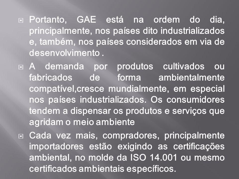 Portanto, GAE está na ordem do dia, principalmente, nos países dito industrializados e, também, nos países considerados em via de desenvolvimento .