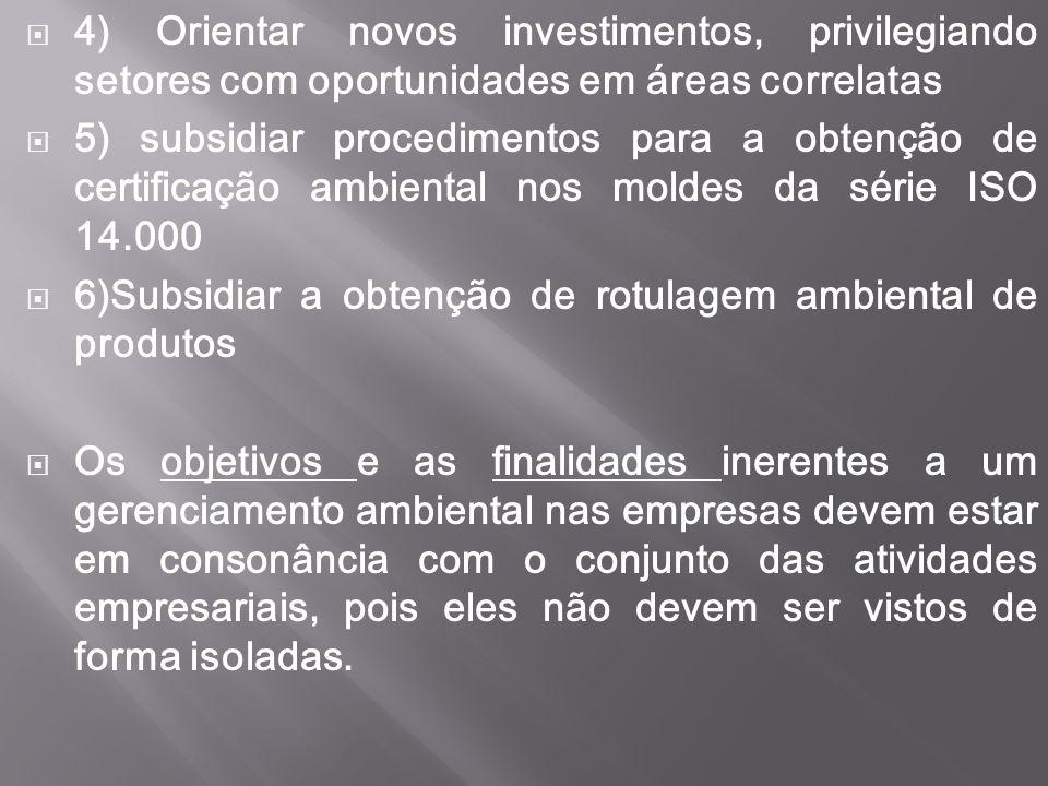 4) Orientar novos investimentos, privilegiando setores com oportunidades em áreas correlatas