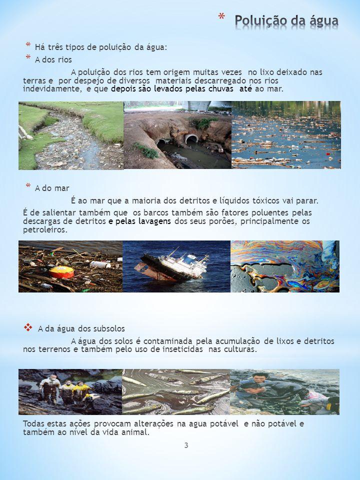 Poluição da água Há três tipos de poluição da água: A dos rios