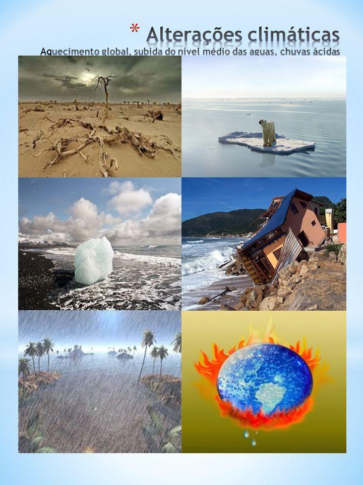 Alterações climáticas Aquecimento global, subida do nível médio das aguas, chuvas ácidas