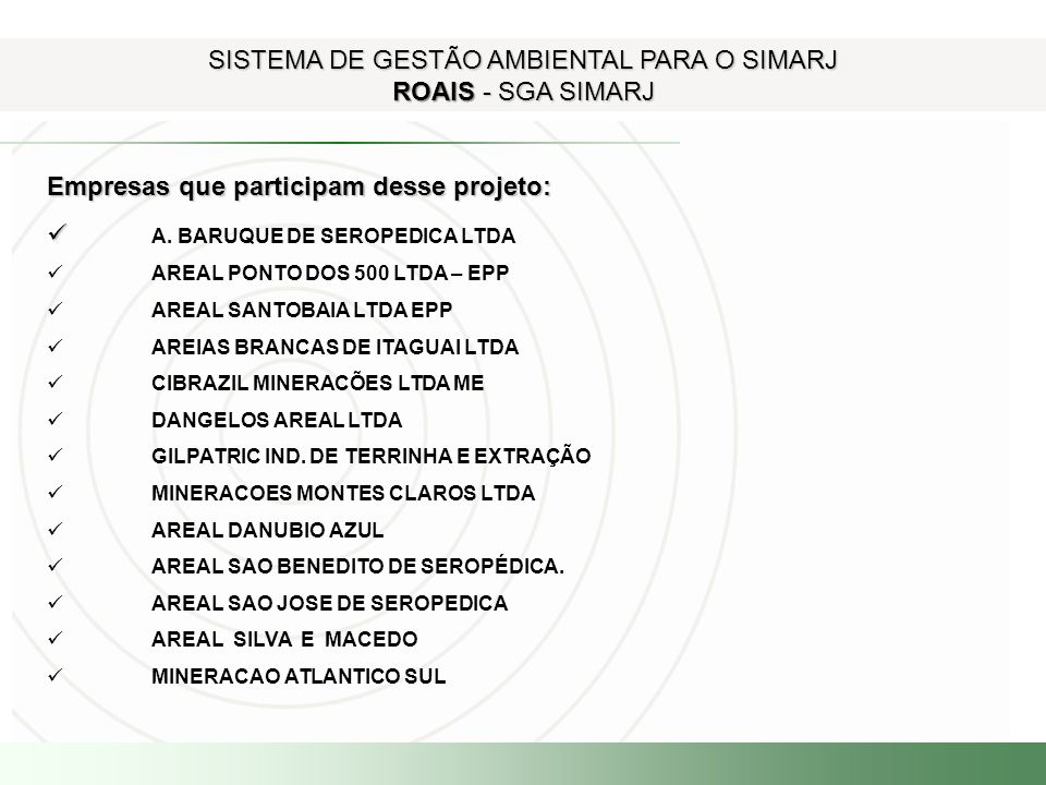 SISTEMA DE GESTÃO AMBIENTAL PARA O SIMARJ