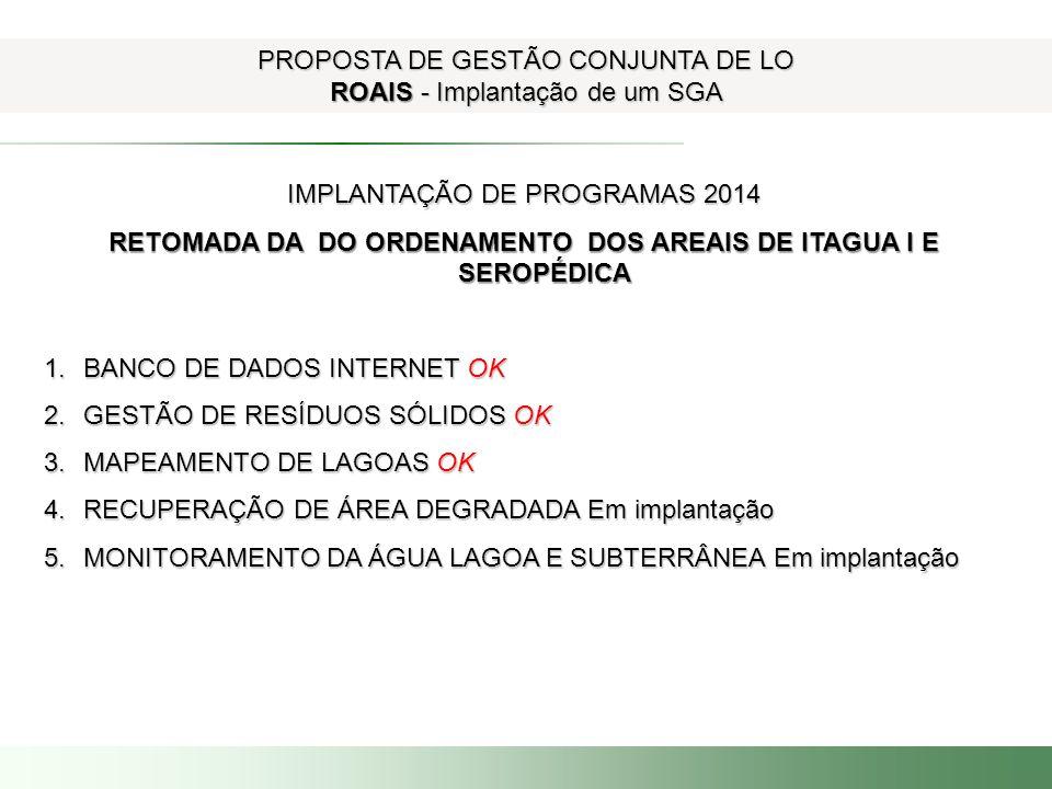 RETOMADA DA DO ORDENAMENTO DOS AREAIS DE ITAGUA I E SEROPÉDICA