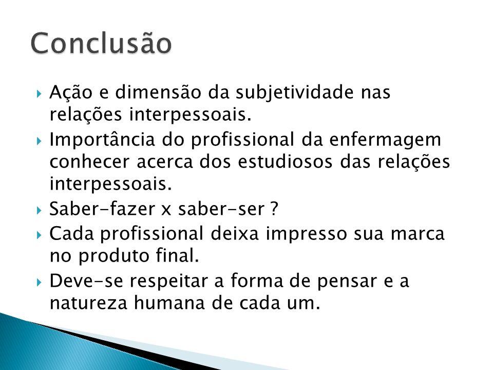 Conclusão Ação e dimensão da subjetividade nas relações interpessoais.
