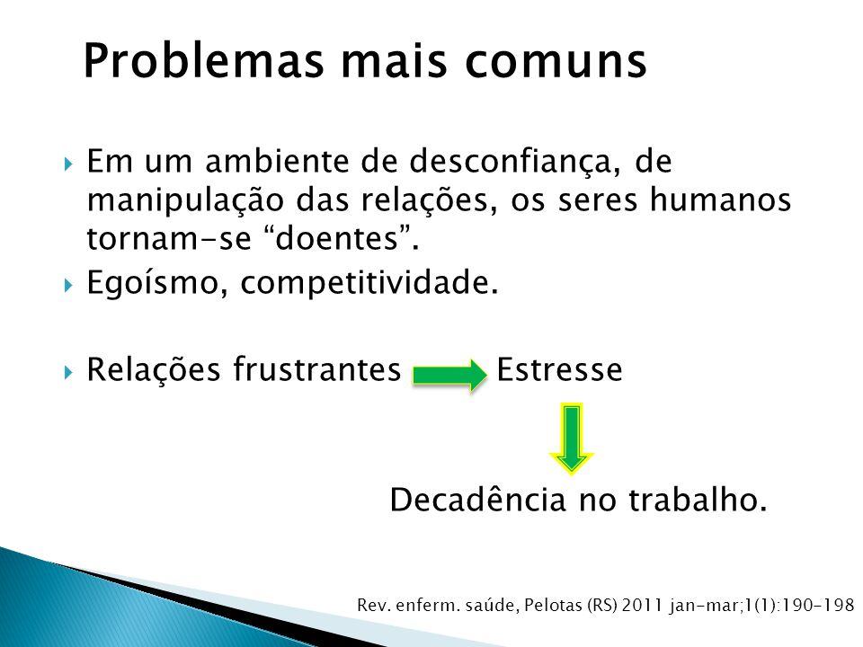 Problemas mais comuns Em um ambiente de desconfiança, de manipulação das relações, os seres humanos tornam-se doentes .